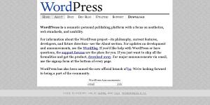 Η αρχική σελίδα του wordpress.org το 2003