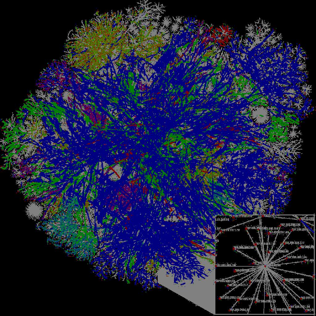 Μερικός χάρτης του internet το 2005, σύμφωνα με δεδόμεα του opte.org
